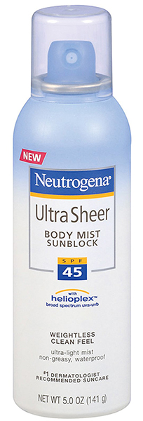 Neutrogena Ultra Sheer Body Mist Sunscreen Spray Broad Spectrum