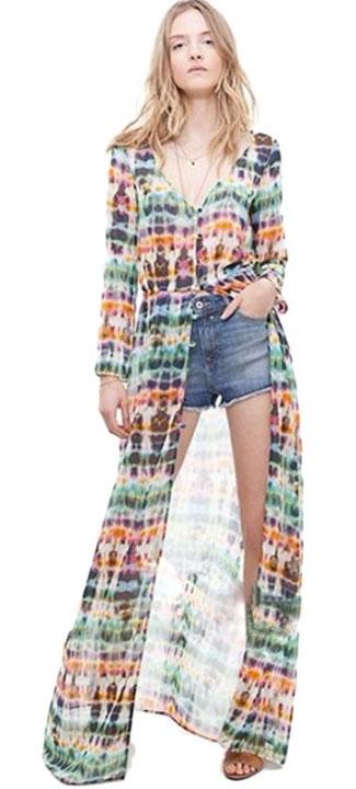 Colorful Stripe Chiffon Long Blouse